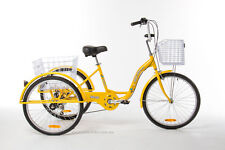 "Trike Bike Adult Tricycle 24"" Aluminium 3 Wheels Safe 6 Gears & Baskets Yellow"
