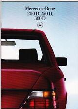 1985 MERCEDES BENZ W124 200D 250D & 300D 28p German Brochure in English