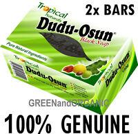 2 Bars 100% ORIGINAL DUDU OSUN African BLACK SOAP Natural Herbal Raw Acne Eczema