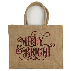 Merry & Bright Burlap Christmas Tote Handles 16 x 13 x 5-3/4 Santa Gift Bag