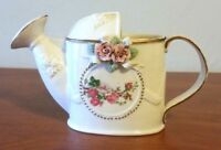 Vintage Porcelain Pitcher White Floral Roses with Gold Trim Decorative Rare