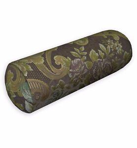 We503g Dark Brown Damask Chenille Throw Bolster Pillow Case Yoga Neck Roll Cover