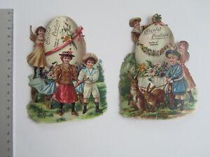 2 CHROMOS DECOUPIS Chocolat POULAIN  - - - -   ENFANTS A PAQUES