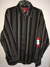 Emanuel Ungaro Mens Large Long Sleeve Stripe Button Front Shirt Tobacco Brown