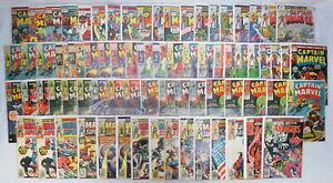 Lot 74 Vintage Captain Marvel #1-62 Super Action #1-22 Silver/Bronze Age 1967-80