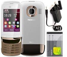 La nueva condición Marca Nokia C2-02 Oro Blanco Desbloqueado Slide Touch & Type teléfono