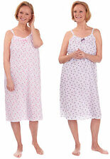 Ladies Sleevless Polycotton Nightdress Nightie by Cottonique 10-12 Lilac