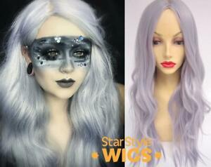 DELUXE SILVER LONG WAVY METALLIC HEAT RESISTANT FASHION WIG CENTRE PART