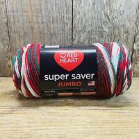 Red Heart Super Saver Jumbo 10 oz Skein Of Yarn- Mistletoe- Red, Green, White