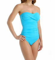 Anne Cole Caribbean Blue Twist Front Ruched Bandeau One Piece Swimsuit 12 NWT