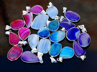 REVISE Natural Mix Lace Botswana Agate Gemstone 925 Sterling Silver Pendants