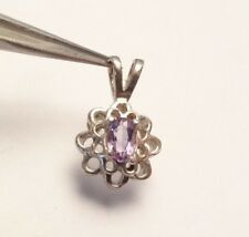 VINTAGE AMETHYST FILIGREE BEAUTIFUL DAINTY PENDANT CHARM STERLING SILVER 925