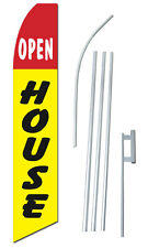 Complete 15' Open House Yellow Kit Swooper Feather Flutter Banner Sign Flag