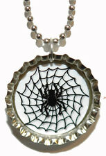 SPIDER ON WEB HALLOWEEN BOTTLE CAP NECKLACE (CAP039a)