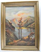 Vintage Oil Painting Framed Stillwell Western US Mountain Valley Lake Afternoon