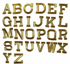 """Letter---1 3/4"""" Gold Metallic Letters Embroidery Iron On Applique Patch /1PC"""