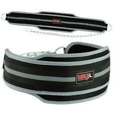 MRX Power Weight Lifting Gym Exercise Dip Belt Metal Chain Black / Grey