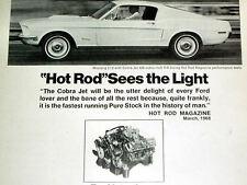 1968 FORD MUSTANG 2+2 COBRA JET 428 V8 ENGINE VINTAGE AD/poster/427/GT/1967/CJ