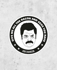 Ron Swanson Sticker! Parks and Recreation, parks & Rec, Nick Offerman, bacon