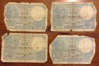 Lot Of 4 X France Banknotes. 10 Francs. Dated 1939-42. Dix Francs. French.