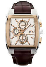 Jorg Gray Mens JG6300-38 Creme Dial Brown Leather Band Stainless Steel Watch