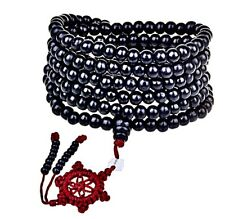 Negro Sándalo Buda Meditación Reiki Mala Pulsera de perlas [Gratis Reino Unido P&p]