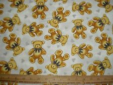 Cotton FLANNEL nursery Baby Teddy Bears with hearts BTY