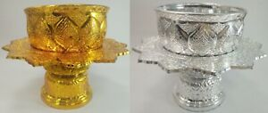 Set Thai Vintage Antique Bowl Tray Water Offering Altar Tradition Plastic Plated