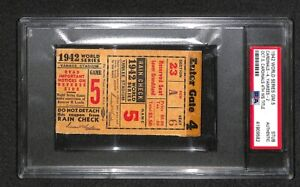 1942 WORLD SERIES GAME 5 ST LOUIS CARDINALS CLINCH WIN 4TH WS TITLE TICKET PSA
