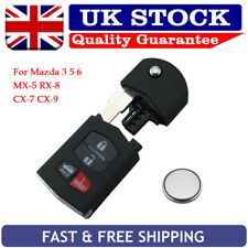 For Mazda 3 5 6 MX-5 RX8 CX7 CX9 4 Button Remote Key Fob Case Repair + Battery