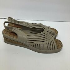 Sandak Sandals Woman's Sz 8 Beige Plastic - Huarache Style