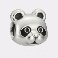 CUTE PANDA FACE & HEAD  Sterling Silver European Charm Bead