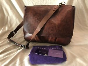 Ralph Lauren purple lable vintage look/distressed leather postman bag
