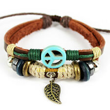 Leaves Pendant With Peace Symbol Pu Leather Woven Rope Bracelet