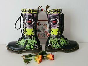 Dr Doc Martens 1914 green eye 14 eye mid calf boots england  UK 4 EU 37 US 6