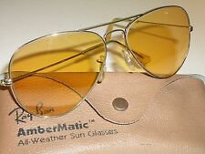 58mm VINTAGE BAUSCH & LOMB RAY BAN GP ALL WEATHER AMBERMATIC AVIATORS SUNGLASSES
