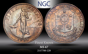1958 PHILIPPINES 50 CENTAVOS NGC MS 67 FINEST KNOWN