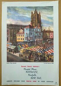 1960's GPO Poster PRD 1187 - ALWAYS INCLUDE YOUR POSTCODE…Market Place, Norwich