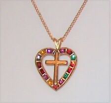 Vtg Rhinestone Multicolor Heart Cross Necklace Faux Ruby Emerald Sapphire Red +