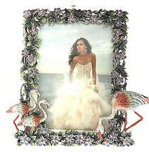 Plumeria Garden Flamingo Picture Frame Crystals Enameled Crystal 5x7 Flora Photo