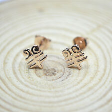 Shiny 14K 14ct Rose Gold Plated Cute ChinesYear of Goat Sheep Stud Earrings Gift