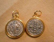 """St Benedict Round Medal with Gold PlatedTrim /Cross Oxidized Medal (1/2"""" x 1/2"""")"""