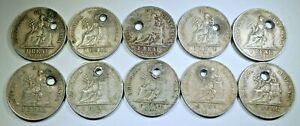 Lot of 10 Holed 1900's Guatemala 1 Reales Antique Genuine Old Guatemalan Coins