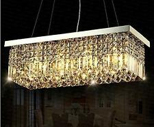 "40"" Rectangle Crystal Pendant Light Ceiling Lamp Dining Room Chandelier Lighting"