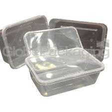 10 x PLASTIC 750ml MICROWAVE FOOD TAKEAWAY CONTAINERS WITH LIDS FREEZER STORAGE