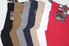 WT02 MEN LONG BASIC STRETCH CHINO PANTS SKINNY FIT