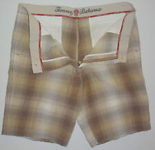Men's 38 Tommy Bahama Beige Brown Grey Linen Silk Casual Shorts Relaxed Fit