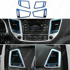 4pcs Stainless Full Air Outlet Panel Blue Cover Trim For Hyundai Tucson 16-2017