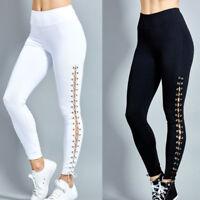 Fashion Women High Waist Lace Up Leggings Pencil Pants Slim Bandage Trousers