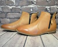 Womens Pier One Tan Leather Zip Up Ankle Boots UK 5 EUR 38 RRP - £60